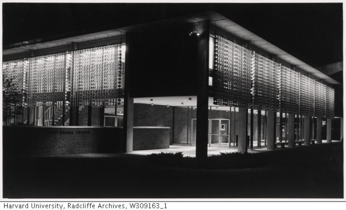 Exterior View of Loeb Drama Center_night_Radcliffe College Archives