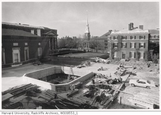 Construction of Pusey Library. Courtesy of Radcliffe Archives.