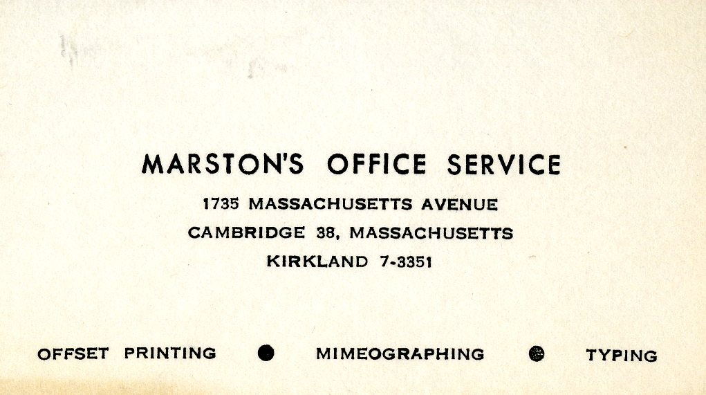 Marston's Office Service business card