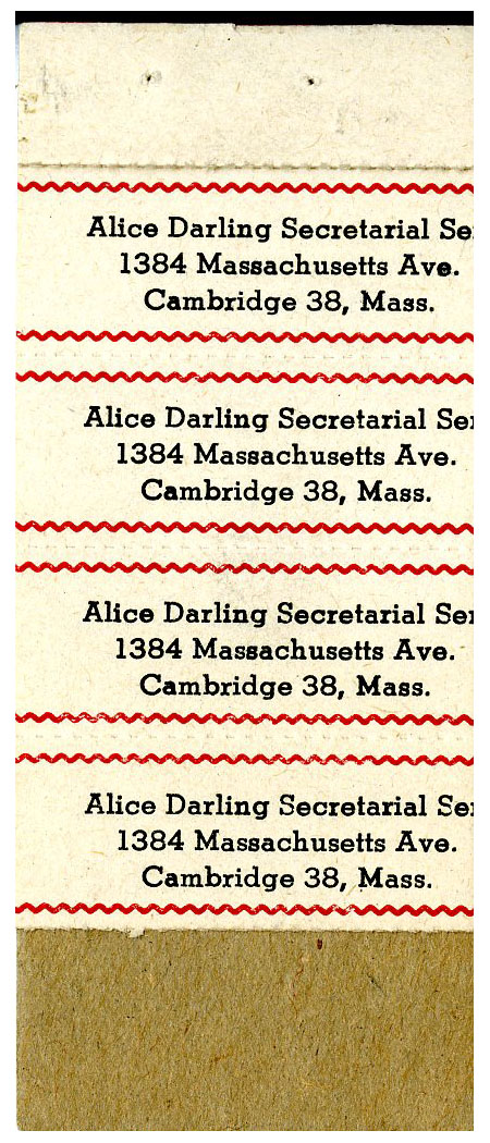 Partial booklet of address labels